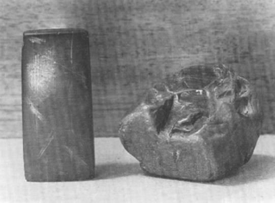 sporen met gegraveerde steentjes